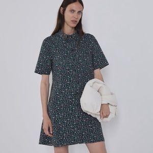 Zara floral print mini dress lapel collar xxl